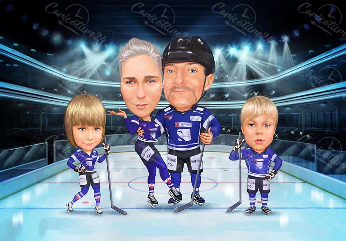 Hockey Family Caricature