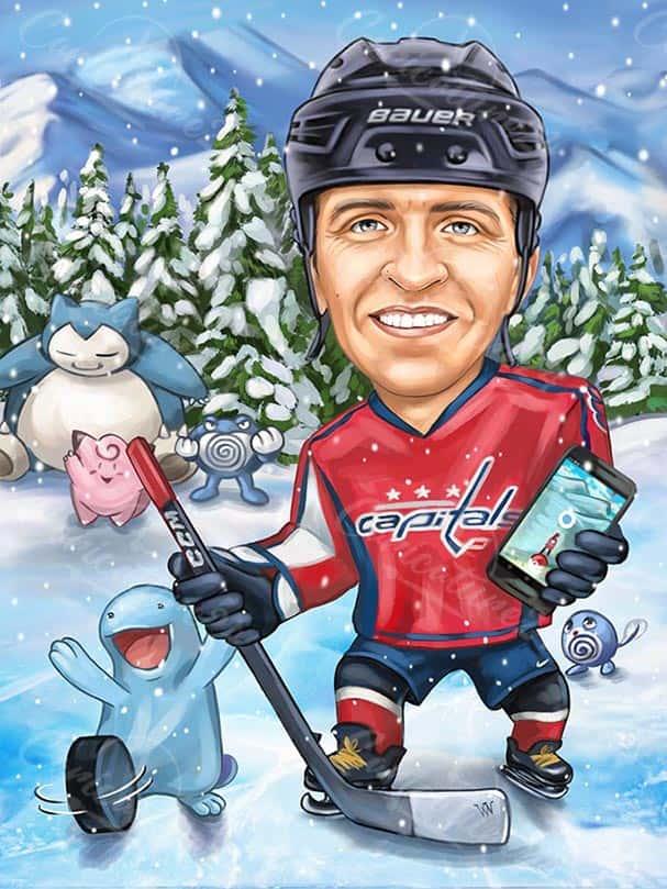 Hockey Player Caricature