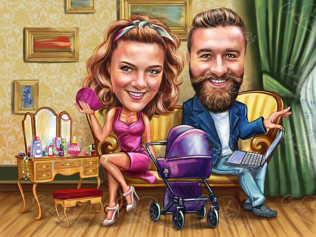 Home Office Programmer with Girlfriend Caricature