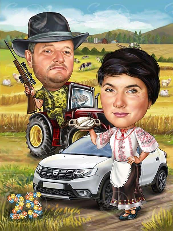 Hunter and Farmer Caricature