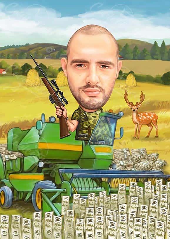 Hunter Caricature in the Field