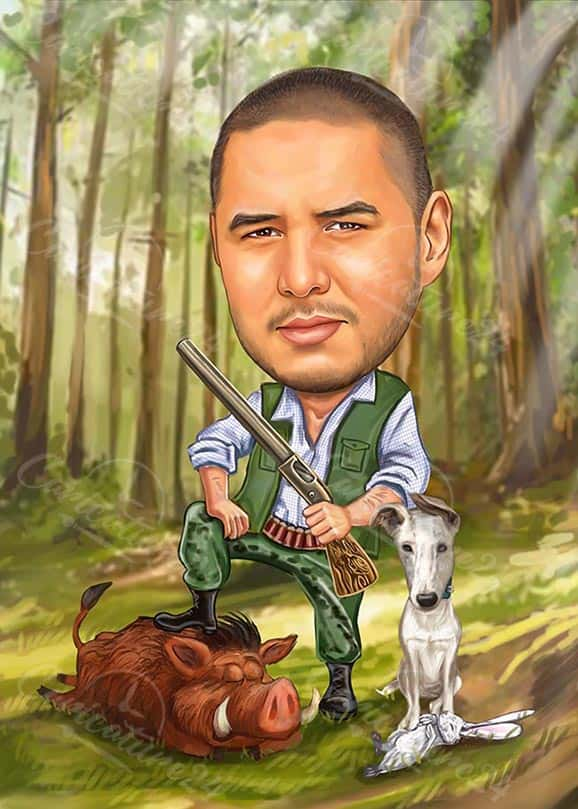 Hunter Caricature with a Dog