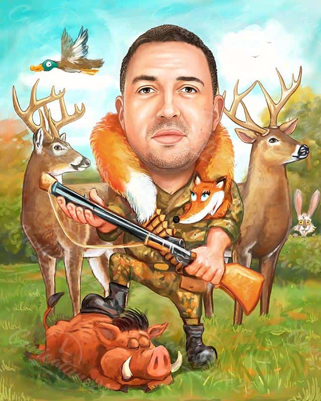 Hunter Caricature with a Rifle