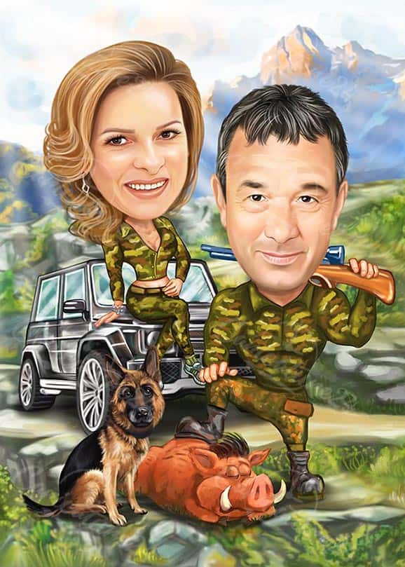 Hunting Couple Caricature with Wild Boar