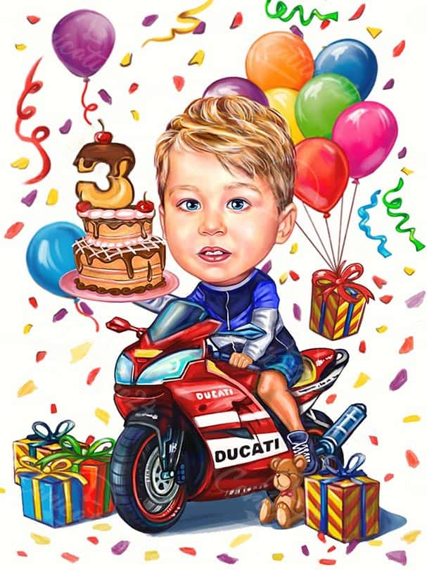 Kid on a Motorcycle Caricature Gift