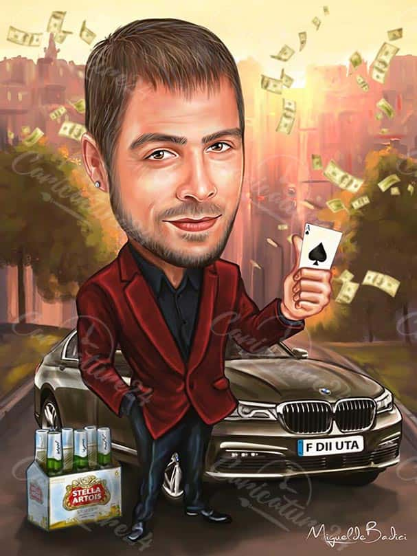 Male Caricature with a Car