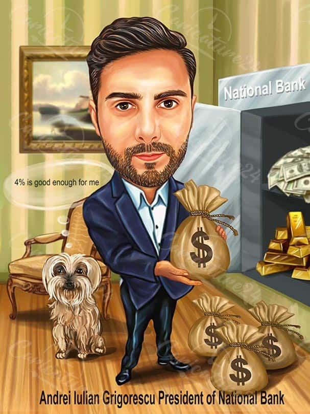 Man Caricature in a Bank