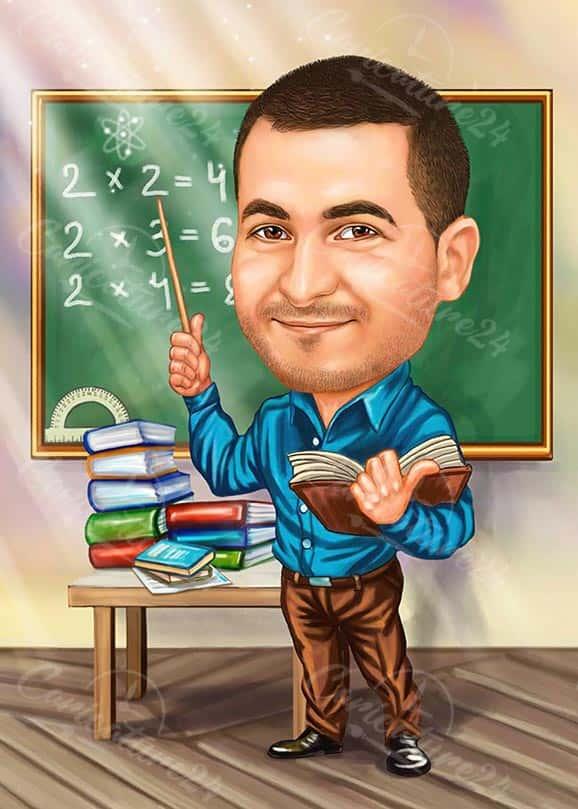 Math Male Teacher Caricature Drawing
