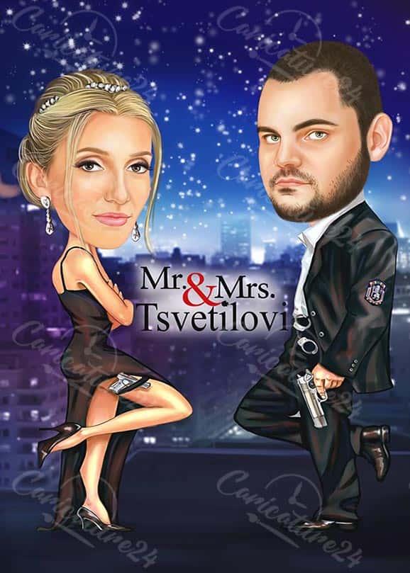 Movie Caricature Mr. & Mrs.