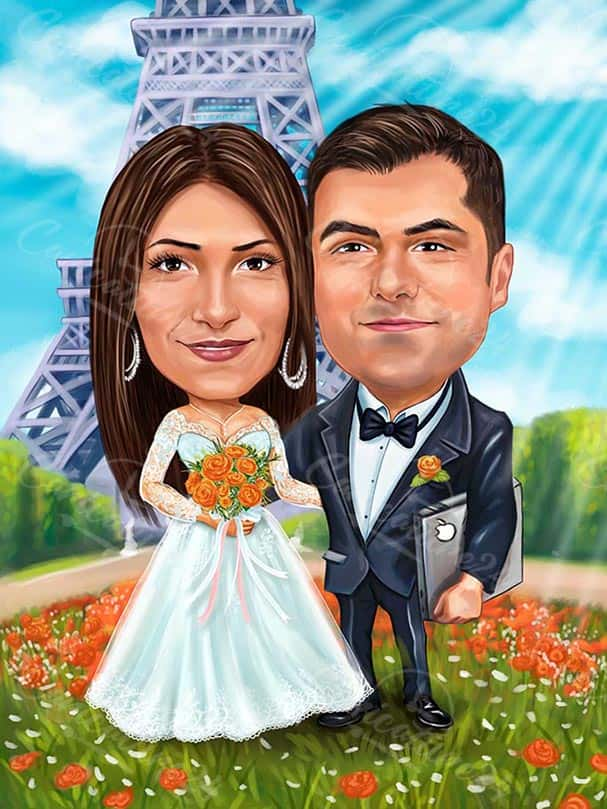 Peronlized Caricature Drawing for Wedding