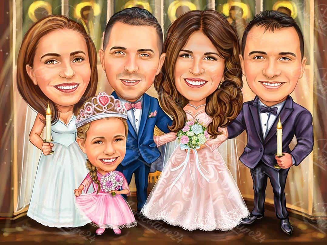 Personalized Wedding Caricature Gift for Family