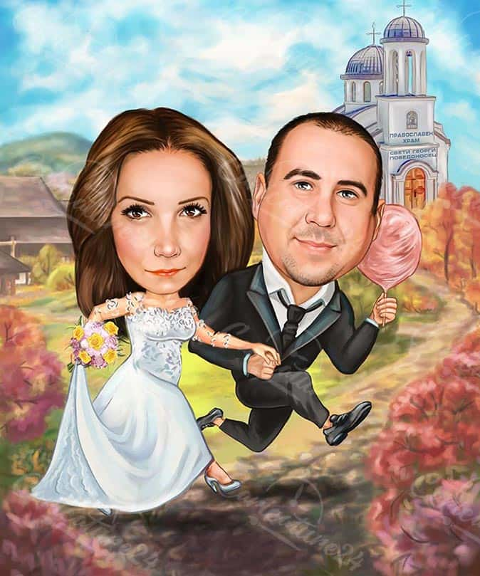 Pregnant Woman Caricature Bride and Groom