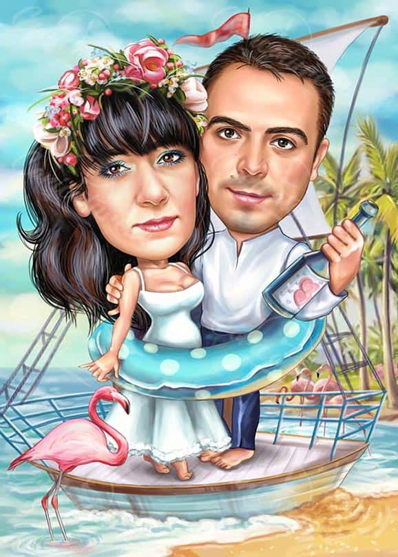Pregnant Woman Caricature for Wedding
