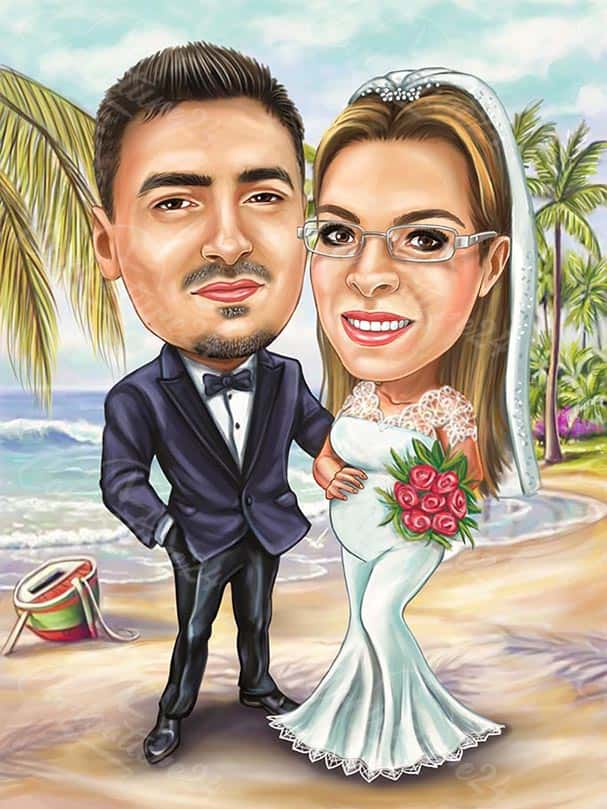 Pregnant Woman Caricature Wedding on the Beach