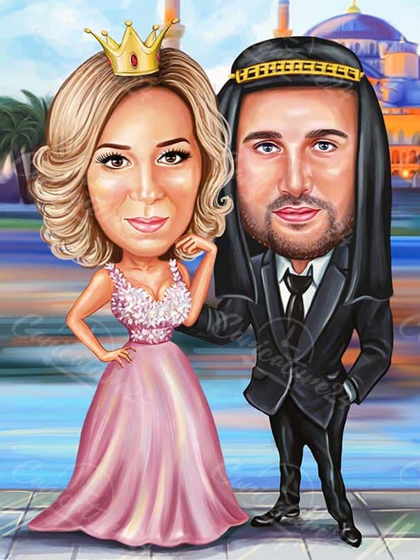 Princess and King Caricature for a Couple