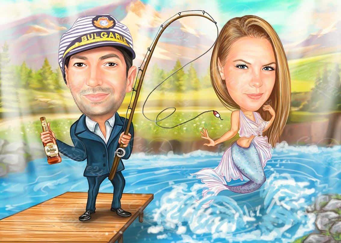 Sea Caricature with Mermaid
