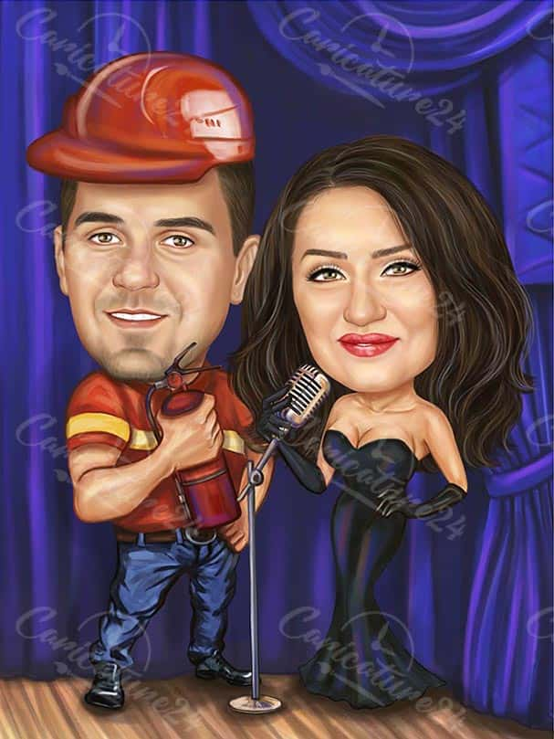 Singer Caricature with Firefighter