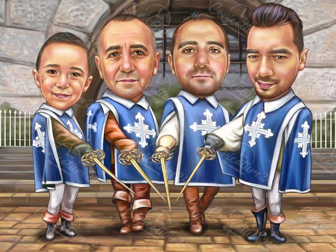 The Four Musketeers Caricature