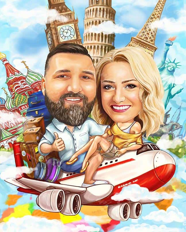 Travel Caricature for a Couple