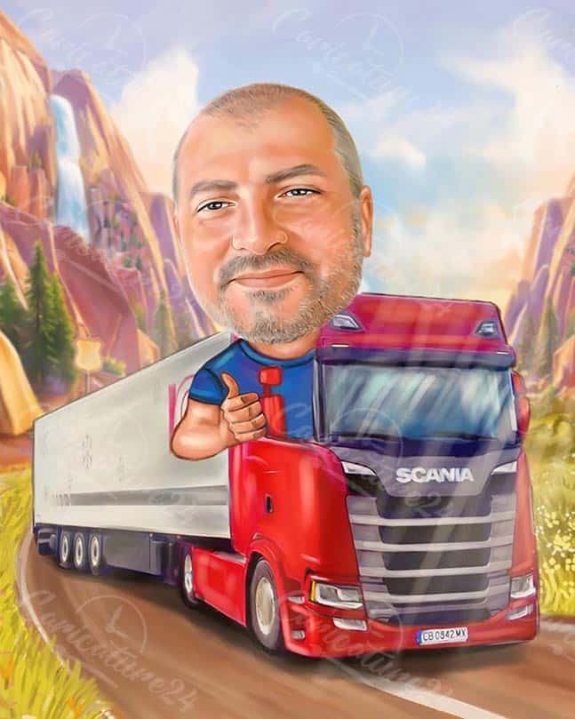 Truck Driver Caricature for a Man