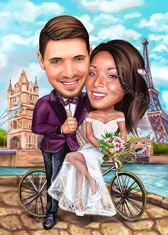 Unique Wedding Caricature in Paris