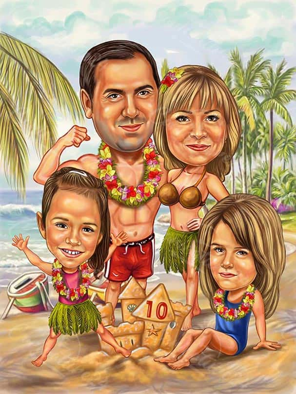 Wedding Anniversary Caricature 10 Years Together