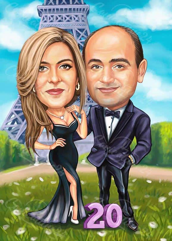 Wedding Anniversary Caricature 20 Years Together