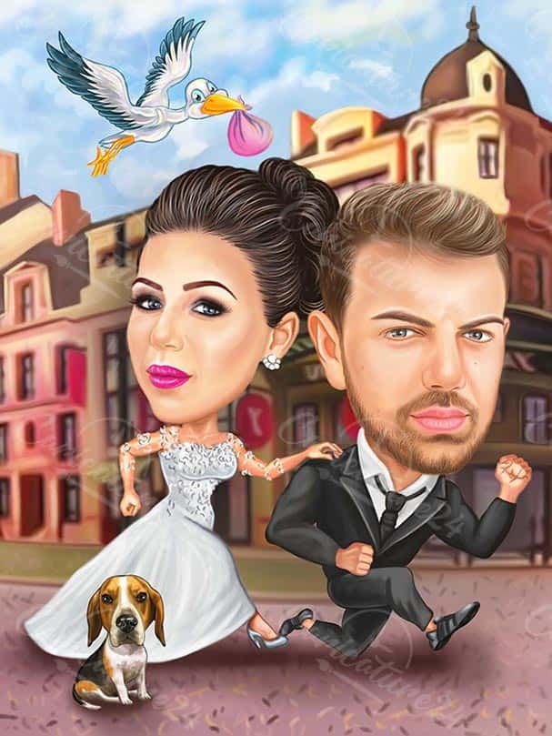 Wedding Caricature with a Strork