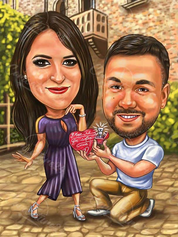 Wedding Proposal Caricature for Valentine's Day