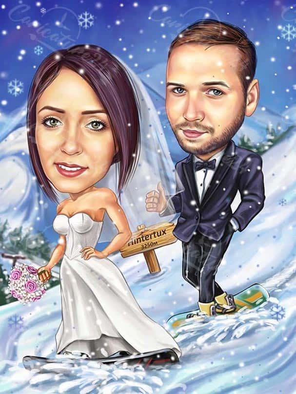 Winter Bride and Groom Wedding Caricature