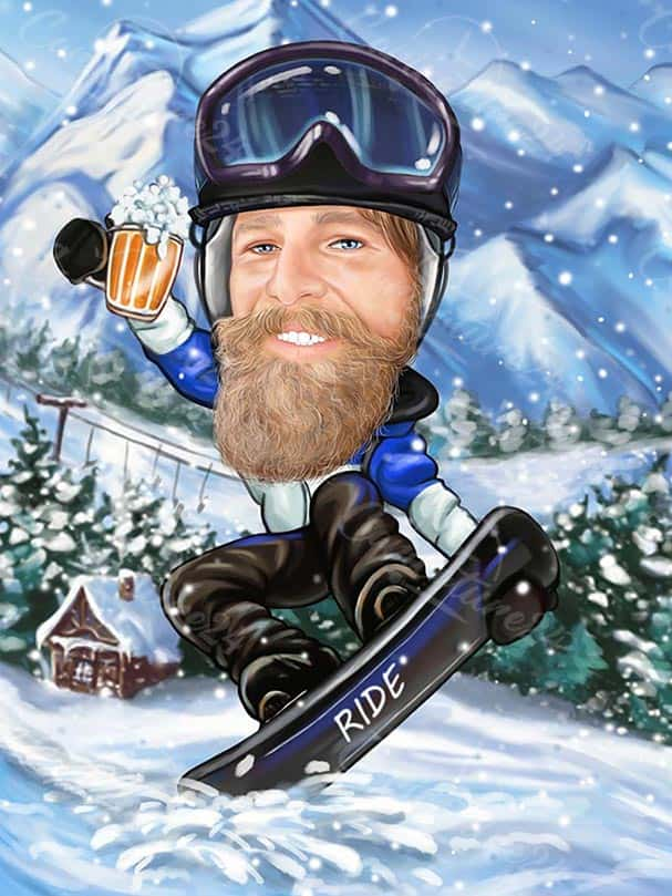 Winter Caricature with Snowboard