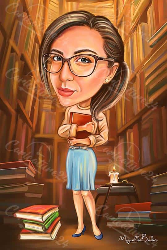 Woman in the Library Caricature