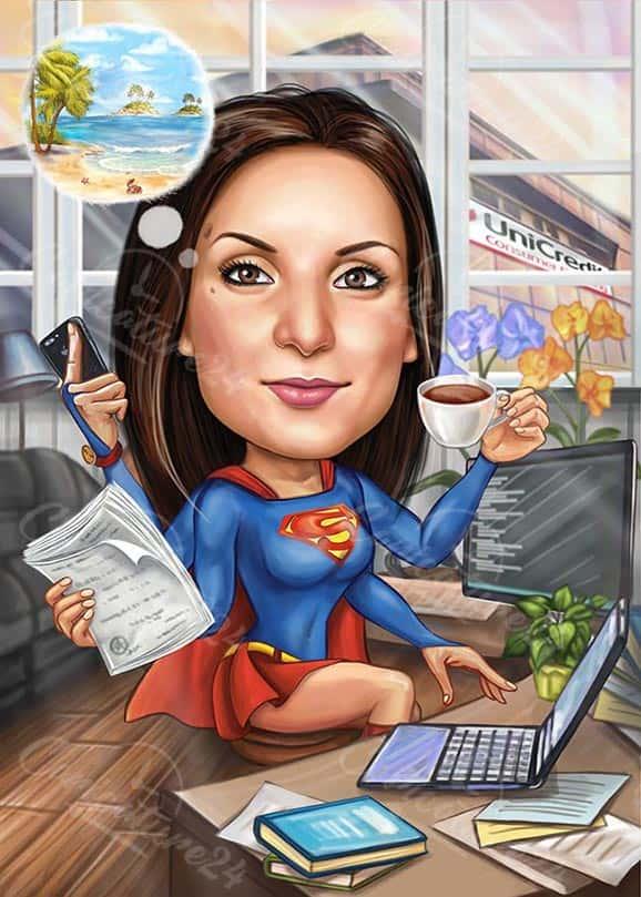 Woman Superhero Caricature