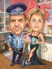 25 Anniversary Gift Caricature for Policeman