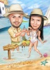 Beach Caricature Drawing for Engagement