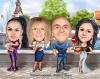 Birthday Group Caricature with Cake