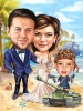Bride and Groom Caricature on the Beach