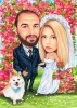 Bride and Groom Caricature with Animals