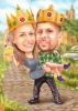 Caricature King and Queen