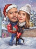 Christmas Caricature Picture for a Couple