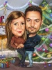 Christmas Tree Caricature for a Couple