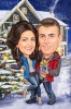 Couple Caricature in front of a Christmas Tree