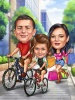 Customized Family Caricature with Bicycles