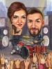 Drummer Caricature Rock Couple