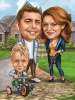 Family Caricature Beer Cake Caricature