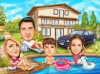 Family Caricature in a Pool