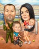 Family Caricature with Kid and Baby