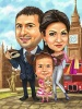 Family Day Vacation Caricature with Big Ben in London
