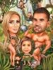 Family Tarzan in the Jungle Caricature