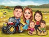 Farmers Family Caricature
